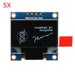 5pcs Geekcreit 0 96 Inch 4pin White Iic I2c Oled Display Module For Arduino