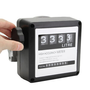 4 Digital Diesel Fuel Oil Flow Meter Counter Diesel Gasoline Petrol Oil Flow