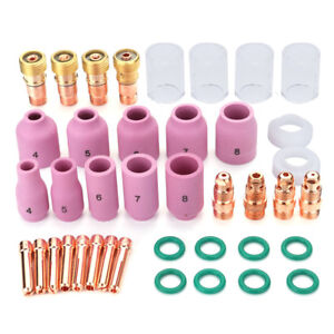 40pcs Tig Welding Stubby Gas Lens 10 Pyrex Cup Kit For Tig Wp 17 18 26 Torch