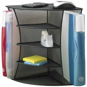 Desk Top Corner Organizer Onyx Mesh Shelf Space Saver Office School Storage