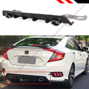 For 2016 18 Honda Civic 4 Dr Dual Exhaust Rear Bumper Diffuser Axle Back Pipes