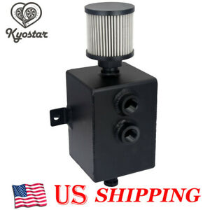 New Aluminum 2l Engine Oil Catch Can Tank Breather Drain Tap Baffled Black