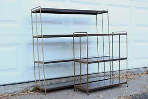 Mid Century Modern Pair Of Walnut Laminate Metal And Brass Bookshelves