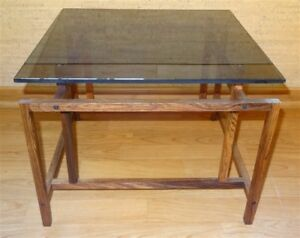Mid Century Danish Modern Rosewood Norgaard Komfort Side Table Smoked Glass