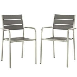 Shore Dining Chair Outdoor Patio Aluminum Set Of 2