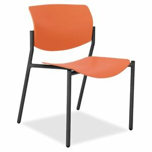 Lorell Stack Chairs With Molded Plastic Seat Back Plastic Orange Seat