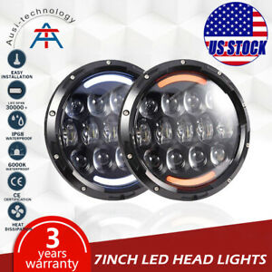 Pair 7 105w Round Led Headlights Hi Lo Beam Bulb For Jeep Wrangler Jk Tj Black