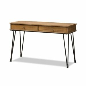 Toma Rustic Industrial Metal And Distressed Wood 2 drawer Storage Desk