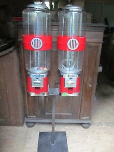 Vintage Gumball toy Vending Machine Double Machine W Metal Stand 75 Tall