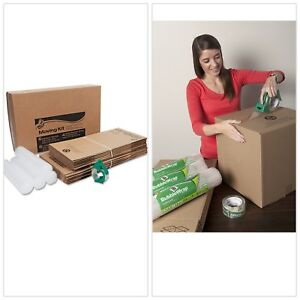 All In 1 Moving Kit 4 Rolls Bubble Wrap Large Medium Boxes 1 Roll Packing Tape