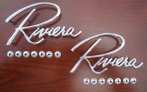 1963 1967 Buick Riviera Chrome Fender Scripts Pair Emblems Oem 1396144
