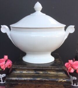 Antique French White Porcelain White Ironstone Large Tureen