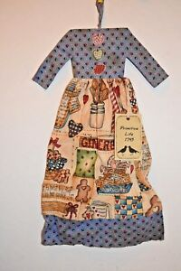 Vintage Country Kitchen Dress Grungy Primitive Country Folk Art Doll Wall Decor