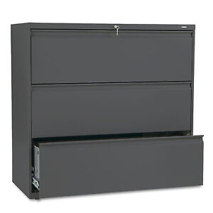 Hon 800 Series Three drawer Lateral File 42w X 19 1 4d X 40 7 8h Charcoal 893ls