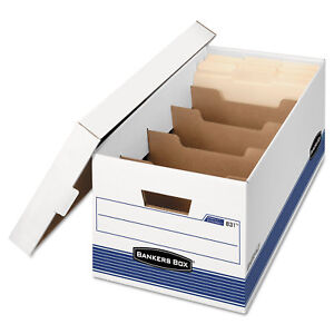 Bankers Box Stor file Extra Strength Storage Box Letter Locking Lid White blue