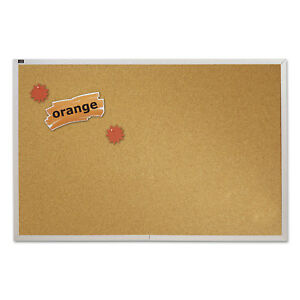 Quartet Natural Cork Bulletin Board 72 X 48 Anodized Aluminum Frame Ecka406