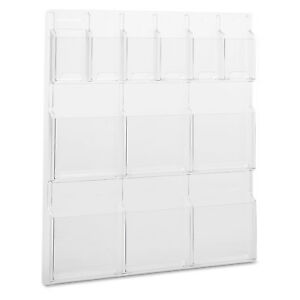 Safco Reveal Clear Literature Displays 12 Compartments 30w X 2d X 34 3 4h Clear