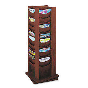 Safco Rotary Display 48 Compartments 17 3 4w X 17 3 4d X 49 1 2h Mahogany 4335mh