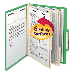 Smead Top Tab Classification Folder Two Dividers Six section Letter Green 10 box