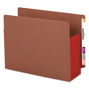 Smead 5 1 4 Exp File Pockets Straight Tab Letter Red 10 box 73696
