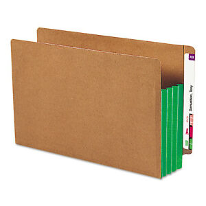 Smead 3 1 2 Exp File Pockets Straight Tab Legal Green 10 box 74680