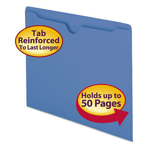 Smead Colored File Jackets W reinforced 2 ply Tab Letter 11pt Blue 100 box 75502