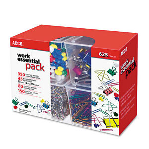 Acco Club Clip Pack 80 Ideal 45 Binder 350 Jumbo Paper Clips 150 Push Pins 76233