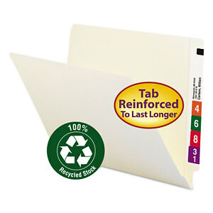 Smead 100 Recycled End Tab Folders Reinforced Tab Letter Size Manila 100 box