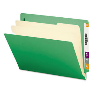 Smead Colored End Tab Classification Folders Letter Six section Green 10 box
