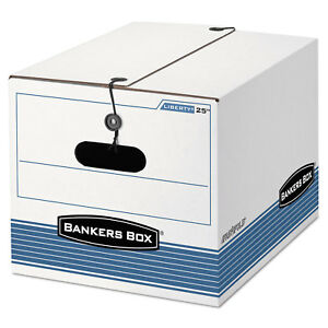 Bankers Box Stor file Storage Box Legal letter Tie Closure White blue 4 carton