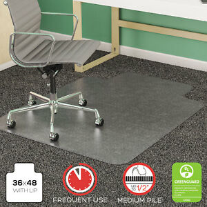 Deflecto Supermat Frequent Use Chair Mat Medium Pile Carpet Beveled 36x48 W lip