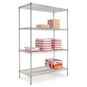 Alera Industrial Heavy duty Wire Shelving Starter Kit 4 shelf 48w X 24d X 72h