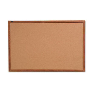 Quartet Cork Bulletin Board 36 X 24 Oak Finish Frame 85223