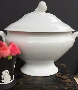 Antique French White Porcelain White Ironstone Tureen
