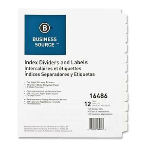 Business Source Index Dividers 3hp 12 tab 25 Sets bx White 16486