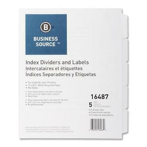 Business Source Index Dividers Unpunched 5 tab 25 Sets bx White 16487