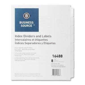 Business Source Index Dividers Unpunched 8 tab 25 Sets bx White 16488