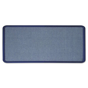 Quartet Contour Fabric Bulletin Board 36 X 24 Light Blue Plastic Navy Blue Frame