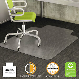 Deflecto Duramat Moderate Use Chair Mat For Low Pile Carpet Beveled 46x60 W lip