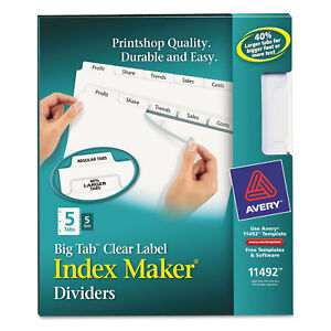 Avery Print Apply Clear Label Dividers W white Tabs 5 tab Letter 5 Sets 11492
