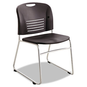 Safco Vy Series Stack Chairs Plastic Back seat Sled Base Black 2 carton 4292bl