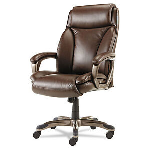 Alera Veon Series Executive Highback Leather Chair Coil Spring Cushioning brown