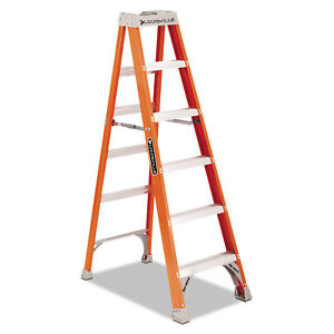 Louisville Fiberglass Heavy Duty Step Ladder 73 3 5 5 step Orange Fs1506