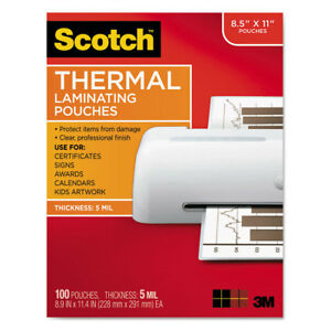 Scotch Letter Size Thermal Laminating Pouches 5 Mil 11 1 2 X 9 100 pack