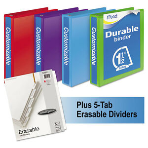 Mead Durable D ring View Binder Plus Pack 1 1 2 Cap Assorted Colors 4 carton