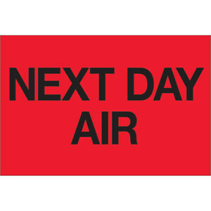 Tape Logic Labels next Day Air 2 X 3 Fluorescent Red 500 roll Dl1072