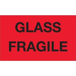 Tape Logic Labels glass Fragile 3 X 5 Fluorescent Red 500 roll Dl1201