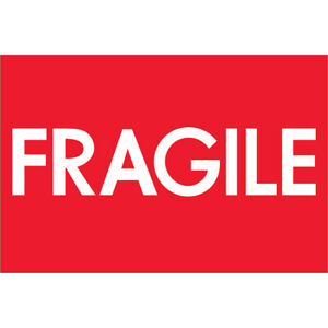 Tape Logic Labels fragile high Gloss 2 X 3 Red white 500 roll Dl1081