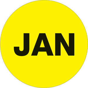 Tape Logic Months Of The Year Labels jan 2 Circle Fluorescent Yellow 500 roll