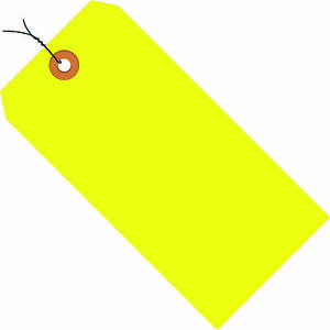 Box Partners Shipping Tags Pre wired 13 Pt 5 3 4 X 2 7 8 Fluorescent Yellow